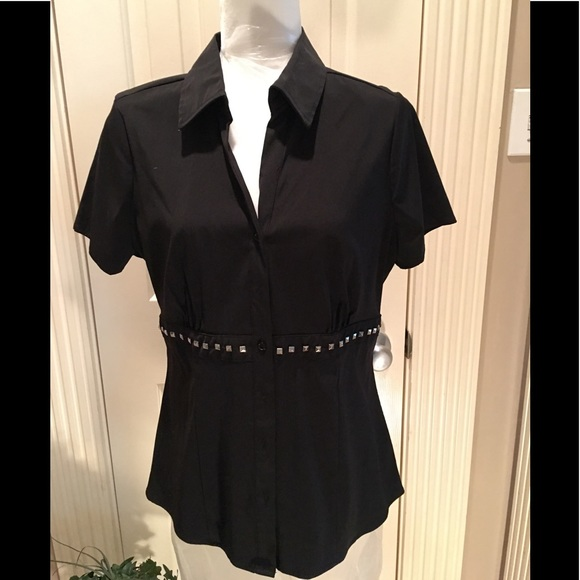 Fred David Tops - Black shirt sleeved blouse